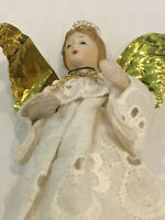 Vintage Christmas Angel Ornament Bisque Porcelain Head White Eyelet Dress 6""