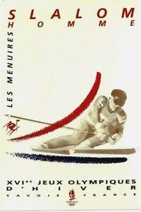 Original vintage poster OLYMPIC GAMES ALBERTVILLE 1992 MEN SLALOM