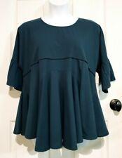 Umgee USA Lace Inset Keyhole Swing Ruffle Sleeve Top Blouse Tunic Teal Sz Large