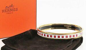 Auth HERMES Goldtone and white Belt Design Enamel Bangle Bracelet PM #38995