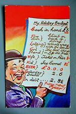 R&L Postcard: HB Comic 4714 , Bowler Hat Man, Holiday Budget, Beer Fund