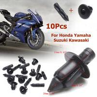 10x 6mm Plastic Rivet Bike Fairing Trim Clips For Honda Yamaha Suzuki Kawasaki
