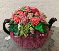 Handmade Crochet tea cozy plum tea cover spring flower roses tea cosy tea warmer