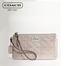 COACH Mia Embossed Leather Wristlet, Shimmer Putty, NWT, Authentic