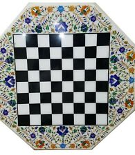 """18"""" marble chess game Table Top pietradura lapis handcrafted inlay work decor"""