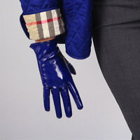 """LATEX SHORT GLOVES Shine Leather Faux Patent PU 8"""" 21cm Everyday Cobalt Blue"""