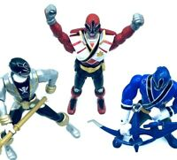 """Bandai Power Rangers 7"""" Lot Of 3 Action Figure Black Red Blue Ranges Poseable"""