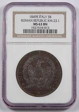 """Italy Roman Republic 1849 R 3 Baiocchi Copper Coin KM23.1 NGC MS63 BN """"Round 3"""""""