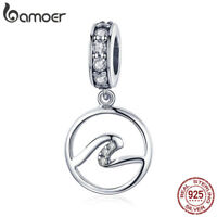 BAMOER 925 Sterling Silver Charm The Waves Dangle With CZ Fit bracelet Jewelry