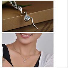 Women's Beautiful 925 Sterling Silver Crystal Zircon Snake Pendant Necklace Gift
