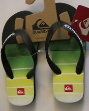 Quiksilver Boy's 11 Youth Flip Flops Sandals Java Black Green Yellow White
