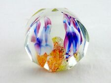 Exbor Paperweight, Multi-Faceted, Multi-Color Flower Petals, 17 Surfaces