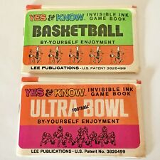 Invisible Ink Basketball Football Marker Game Book Lot 1975 Unused Toy NOS Vtg
