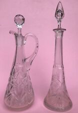 2 Teile: Glas Flacon u. Karaffe  Likör Rum Schnaps Dekanter-Set Bar Hausbar~1900
