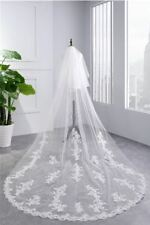 Bridal Wedding lace Veil Cathedral long veil 2Tier With Comb 3.5M ivory/white