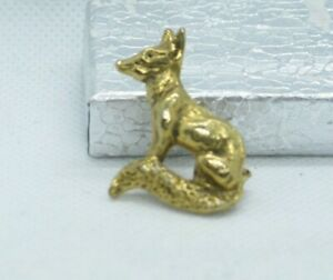 Vintage Pressed Brass FOX Pin Brooch