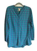 Duluth Trading Sz L Women's Long Sleeve Sidewinder Plaid Tunic Teal Green NWOT