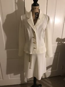 My Michelle STAINED White 2 Piece Skirt Suit 9/10 NEEDS TLC Business Work Wear