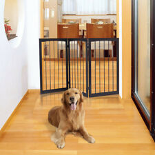 Folding Solid Wooden Pet Dog Fence Playpen Gate 3 Panel Free Standing Indoor