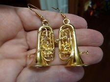 (M-203-G) 3-D EUPHONIUM earrings Jewelry gold plate horn earring pierced wire