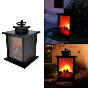 Flickering Flame Effect LED Light Table Lamp Fireplace Lantern Yard Decors