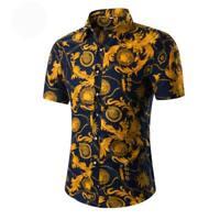 Stylish men's dress shirt summer casual short sleeve formal t-shirt luxury