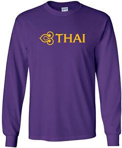 Thai Airways Retro Logo Thailand Airline Long-Sleeve T-Shirt