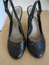 Black Leather Slingback Shoes Size 6.5
