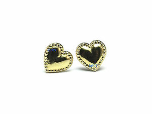 New Ladies 9ct 9Carat Yellow Gold Beaded Heart Studs Earrings 8mm Long