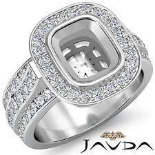 Halo Pave Set Diamond Engagement Cushion Semi Mount Huge Ring 1.65Ct 14k W Gold