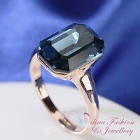 18K Rose Gold GF Made With Swarovski Crystal Stunning Emerald Cut Sapphire Ring