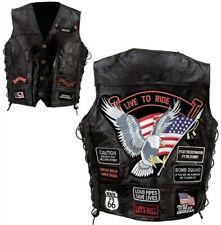 Men's Black Genuine Leather Motorcycle Vest w/14 Patches MC Biker