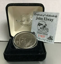 The Highland Mint NFL John Elway Collectors Coin Solid Brushed Nickel Ltd. Ed.