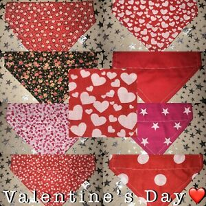 💕❤ Handmade VALENTINES DAY DOG BANDANA REVERSIBLE SLOT TOP Neckerchief Present