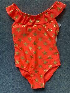 Primark Girls Orange & Gold Starfish Print Swimming Costume Age 5-6 Years NEW
