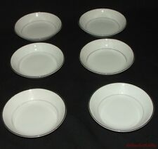 6 Vintage Harmony House China Berry Dessert Bowls Mary 3835 White Silvertone  #2