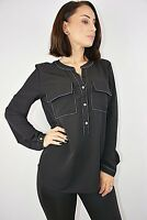 New Womens Ex Brand Black with White Stitching V Neck Blouse Shirt Size 6-12