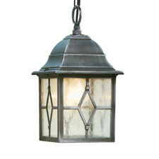 Traditional Black Silver Outdoor Security IP Rated Hanging Porch Chain Lantern