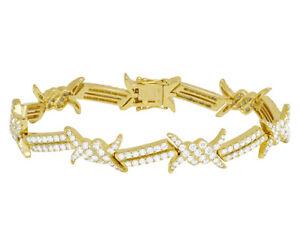 "Unisex 10K Yellow Gold 8 1/2 CT Real Diamond Thorn Designer Bracelet 8"""