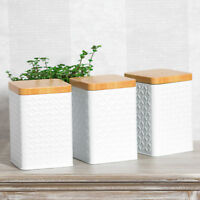 Set of White Square Geometric Tea Coffee Sugar Canisters Storage Jars Containers