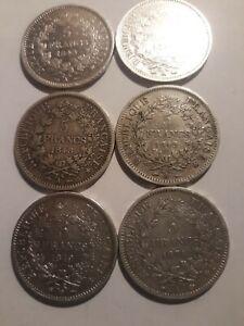 6 pieces 5 francs argent hercule , 3 x1848A,1 de 1849 ,1 de 1849BB et 1 de 1874A