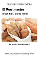 Toastmaster Bread Maker Machine 1195 Operator Instruction Manual & Recipes Cd