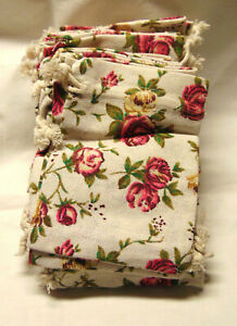 """50 New Floral Cloth Gift Bags Double Draw String Closure 5 1/2"""" x 4"""" Rose"""