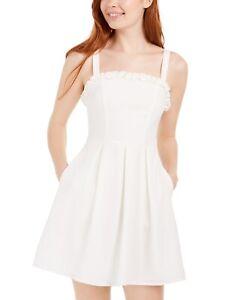 Speechless Women's Ruffle Trim Sleeveless Mini Dress White Size Medium