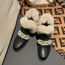 Fashion Women's Round Toe Beads Snow Winter Leather Shoes Warm fur Lining Boots