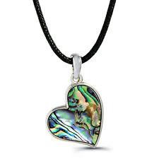 "Heart Charm Pendant Fashionable Necklace - Abalone Paua Shell - 18"" Chain"