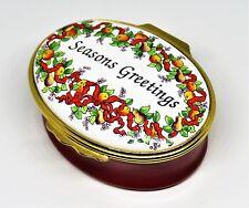 "Halcyon Days Enamel Box - ""Seasons Greetings"" - Christmas Wreath - Mistletoe"
