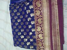 Sari de seda pura Banarasi Hermoso Elegante Blusa Púrpura Asiático