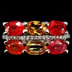 RING Size 6.5 NATURAL SAPPHIRE PADPARADSCHA, YELLOW CITRINE 0.925 Silver