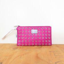 Michael Kors Fuchsia Pink Silver Rivet Studded Clutch Wallet Purse NEW 0316EB